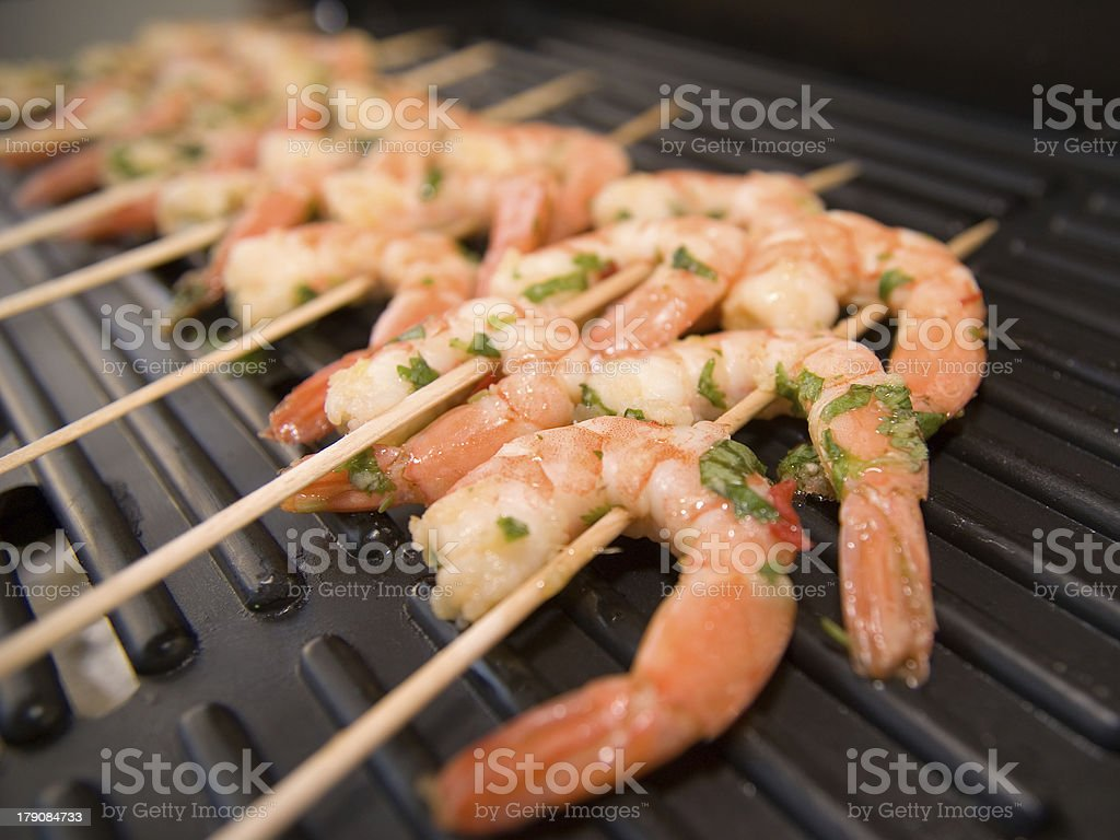 Shrimps on a grill closeup royalty-free stock photo