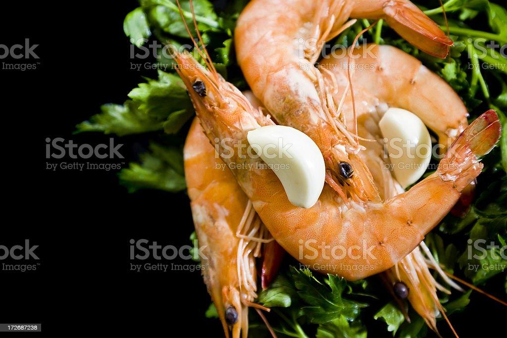 Shrimps on black dish royalty-free stock photo