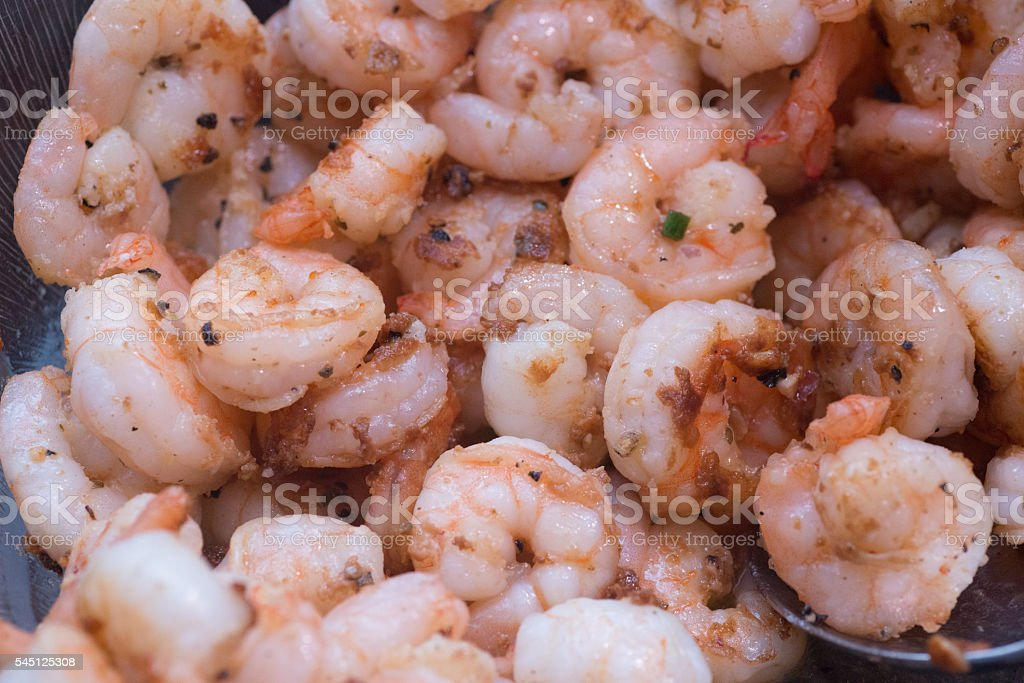 shrimps on catering buffet stock photo