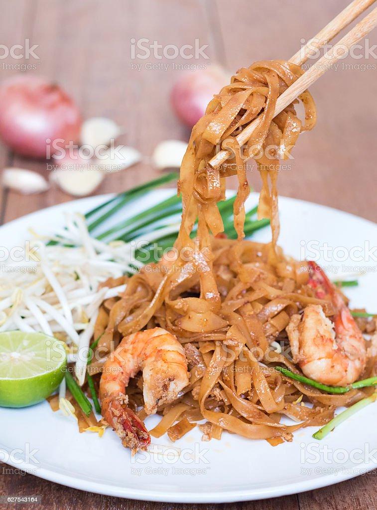 Shrimps Pad Thai, Thai Food, Thailand's national dishes. stock photo
