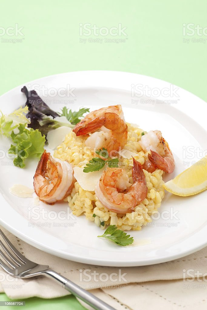 Shrimps Risotto royalty-free stock photo