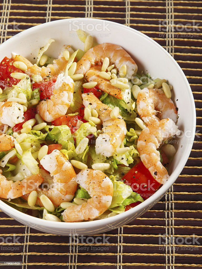 Shrimps salad royalty-free stock photo