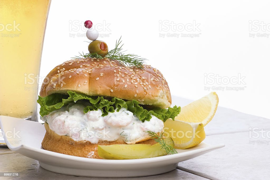 Shrimps Salad Sandwich with beer royalty-free stock photo