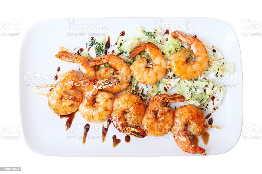 shrimps skewers stock photo