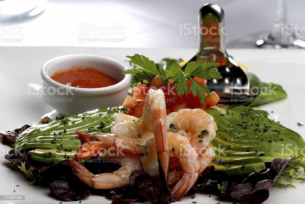 Shrimps with Avocado royalty-free stock photo