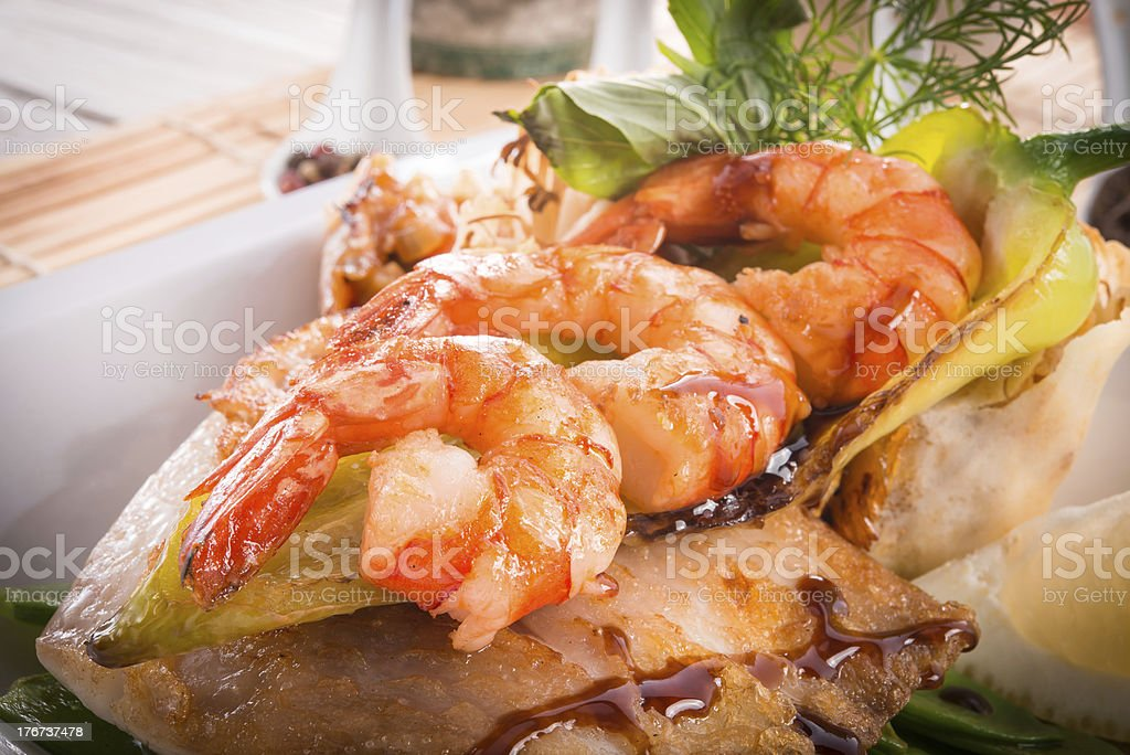 shrimps with fish and vegetables royalty-free stock photo