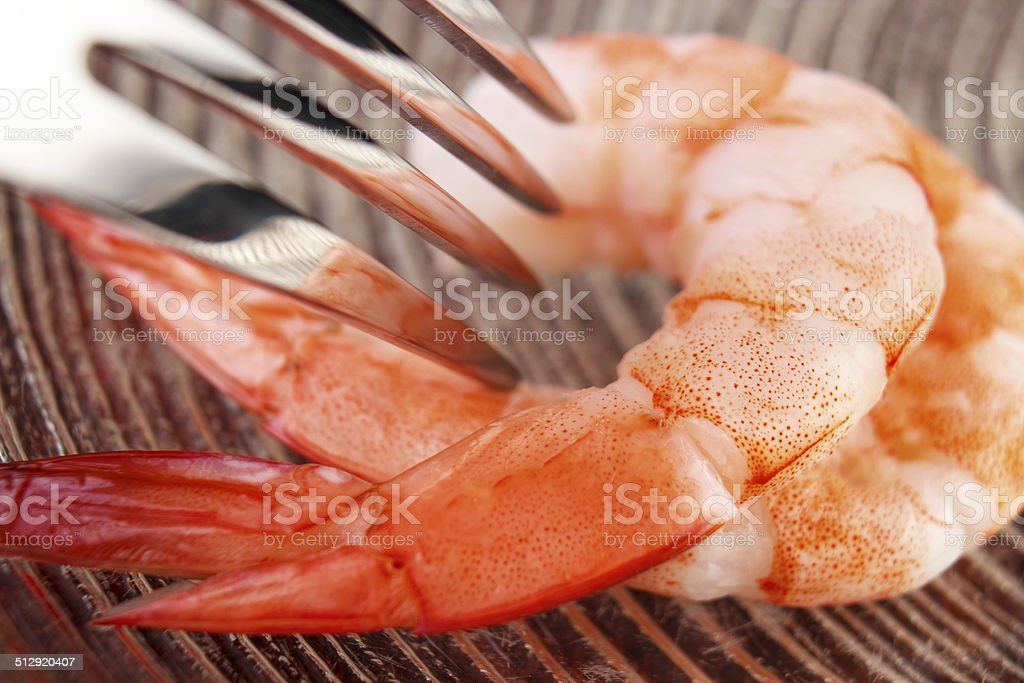 Shrimps with fork royalty-free stock photo