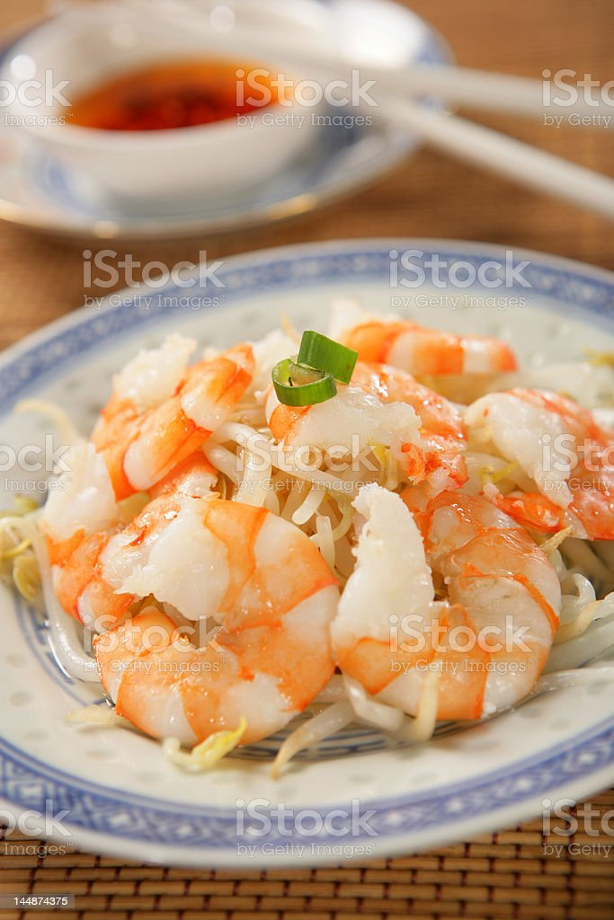 Shrimps with soya sprouts royalty-free stock photo