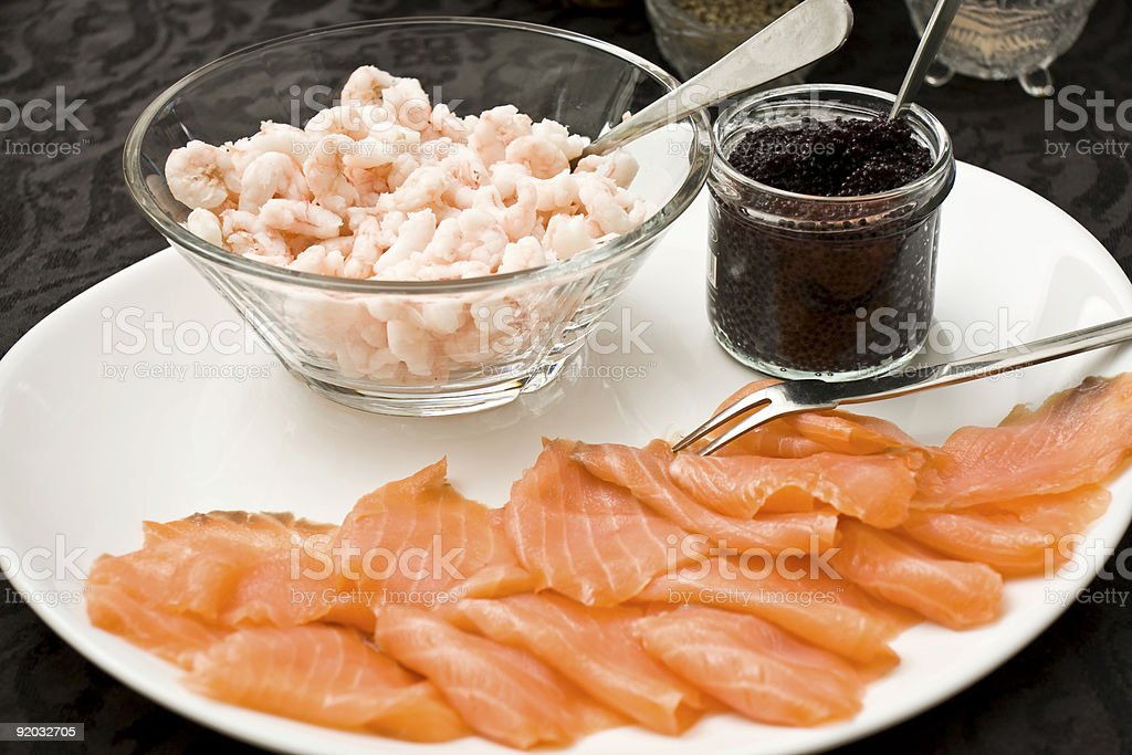 Shrimps,caviar and salmon royalty-free stock photo