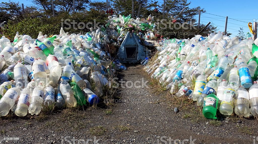 Shrine in Argentina dedicated to Difunta Correa decorated with bottles stock photo