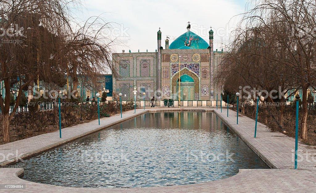 Shrine of Hazrat Ali, Mazar-i-Sharif, Afghanistan stock photo