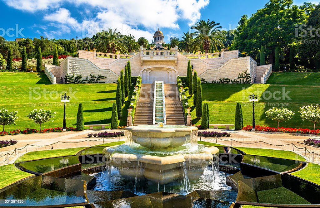 Shrine of the Bab and lower terraces at the Bahai stock photo