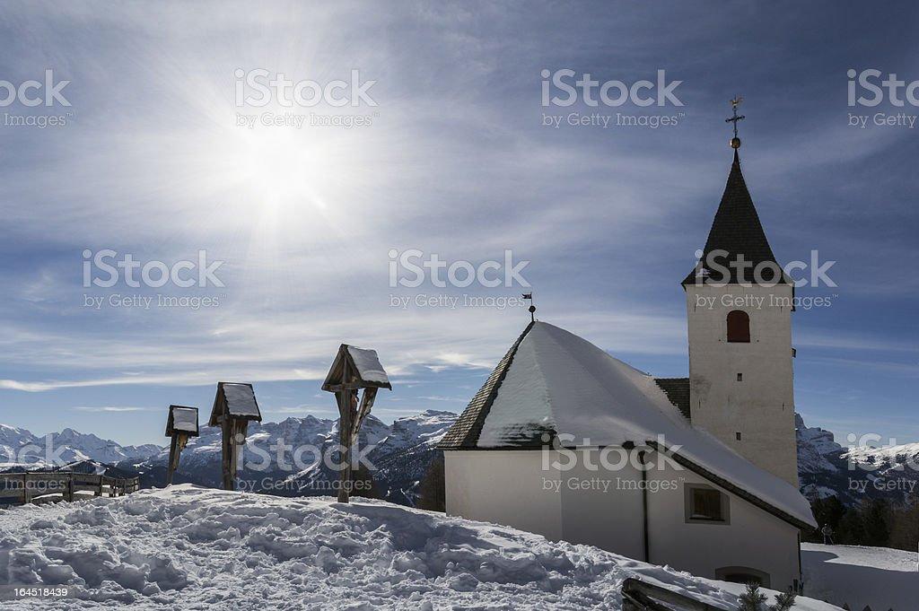 Shrine of the Holy Cross in Val Badia II stock photo