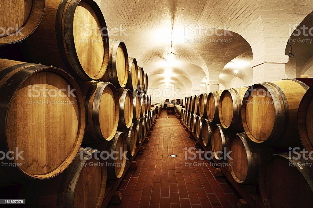 Shrine to wine! Winery cellar looks like a mediaeval church stock photo