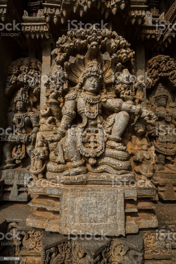 Shrine wall relief sculpture follows a stellate plan in the Chennakesava temple at Somanathapura,Karnataka,India, Asia stock photo
