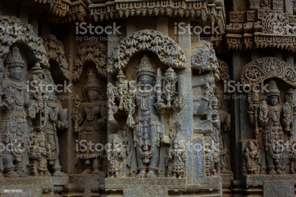 Shrine wall relief sculpture follows a stellate plan in the Chennakesava temple at Somanathapura, Karnataka, India,Asia stock photo
