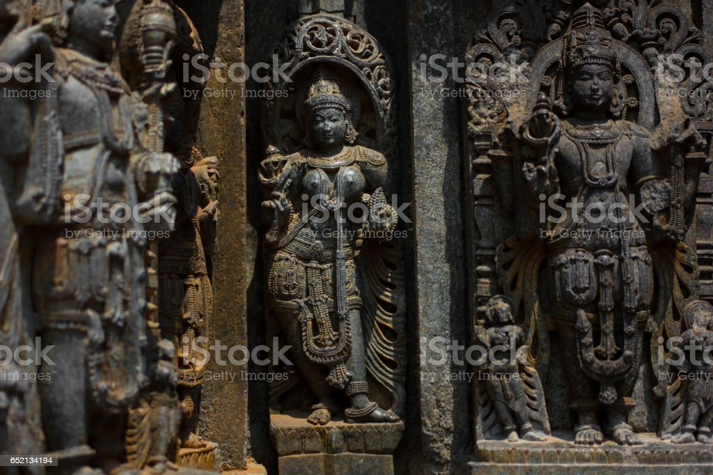Shrine wall relief sculpture follows a stellate plan in the Chennakesava temple at Somanathapura,Karnataka,India,Asia stock photo