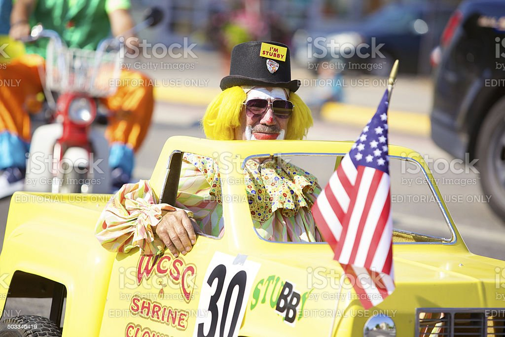 Shriners Childrens Hospital Clowns in a parade stock photo