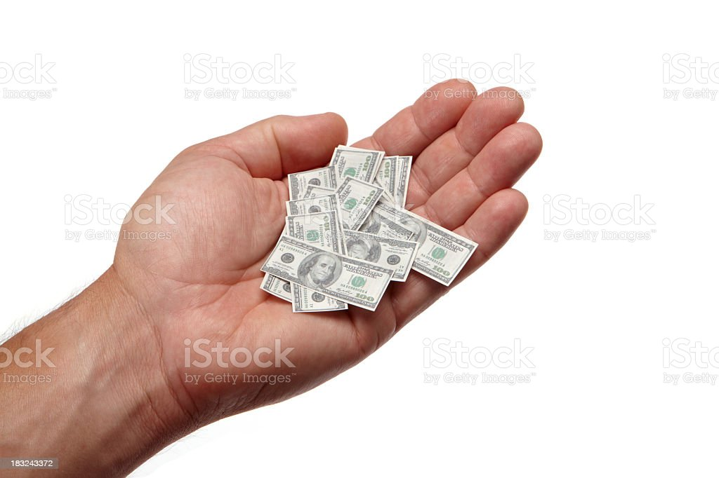 Shrinking savings in hand stock photo