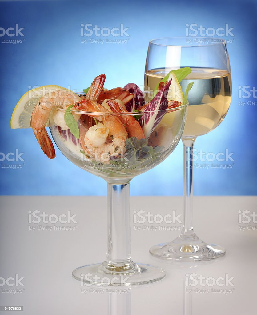 shrips and wine royalty-free stock photo