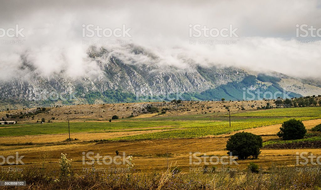 Shrouded mountain stock photo