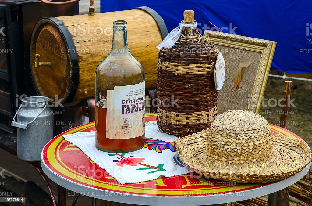 Shrovetide festivities. Bottles with Belorussian moonshine stock photo