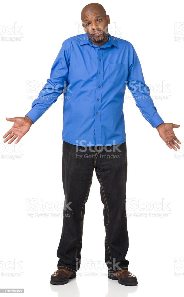 Shrugging Man Full Length Portrait stock photo