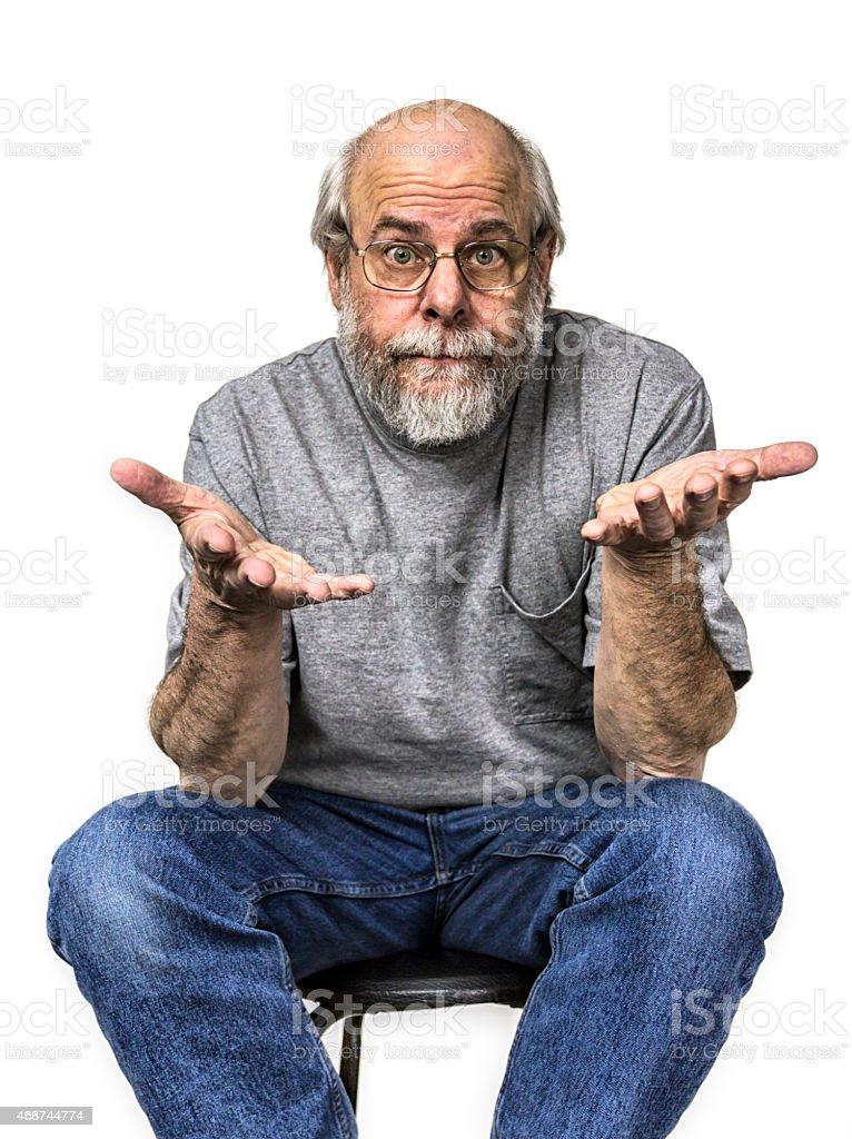 Shrugging Senior Adult Man Raised Palms stock photo
