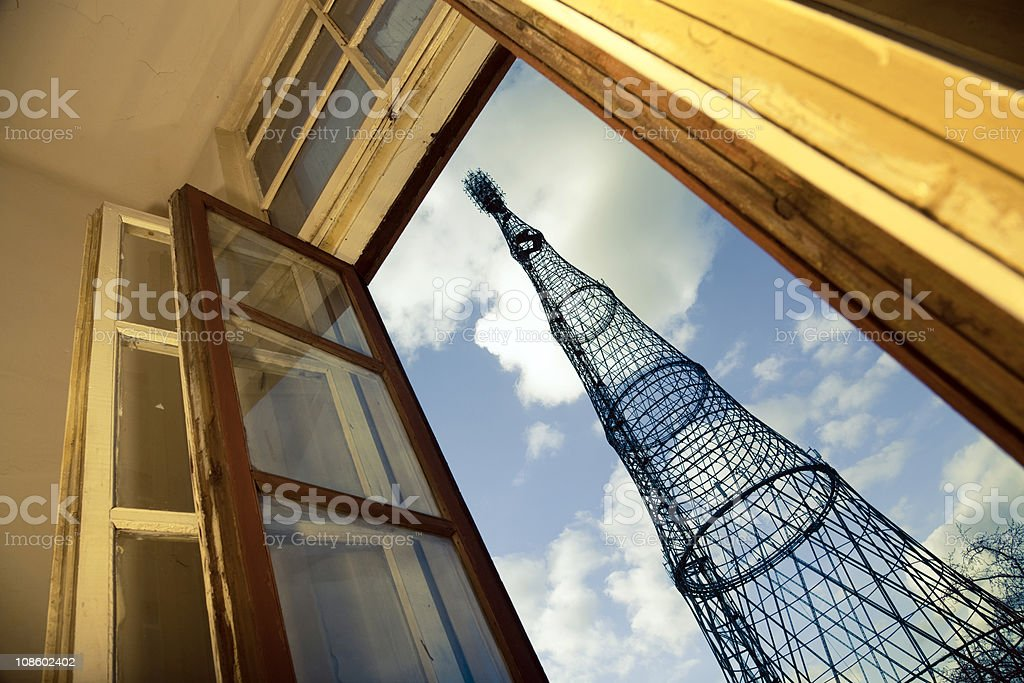 Shukhov communication tower in old window stock photo