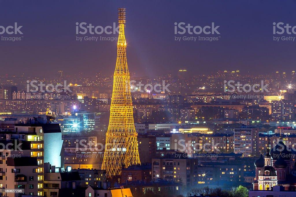 Shukhov communication tower with night illumination stock photo