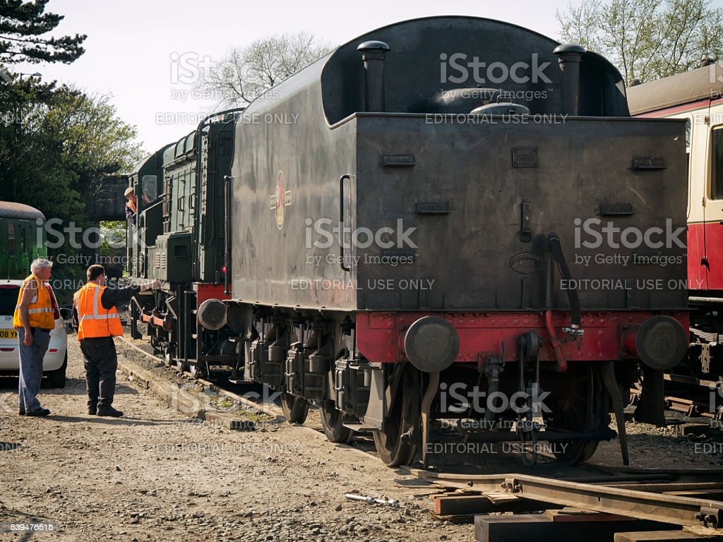 Shunter engine moving a tender stock photo
