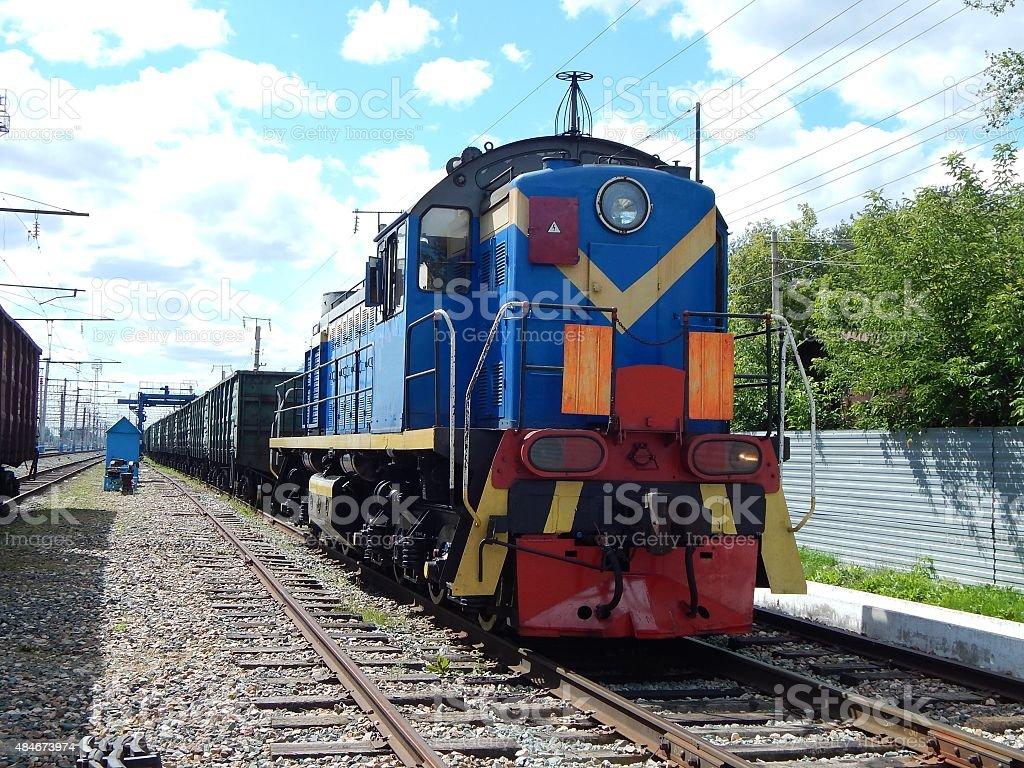 shunting diesel locomotive. stock photo