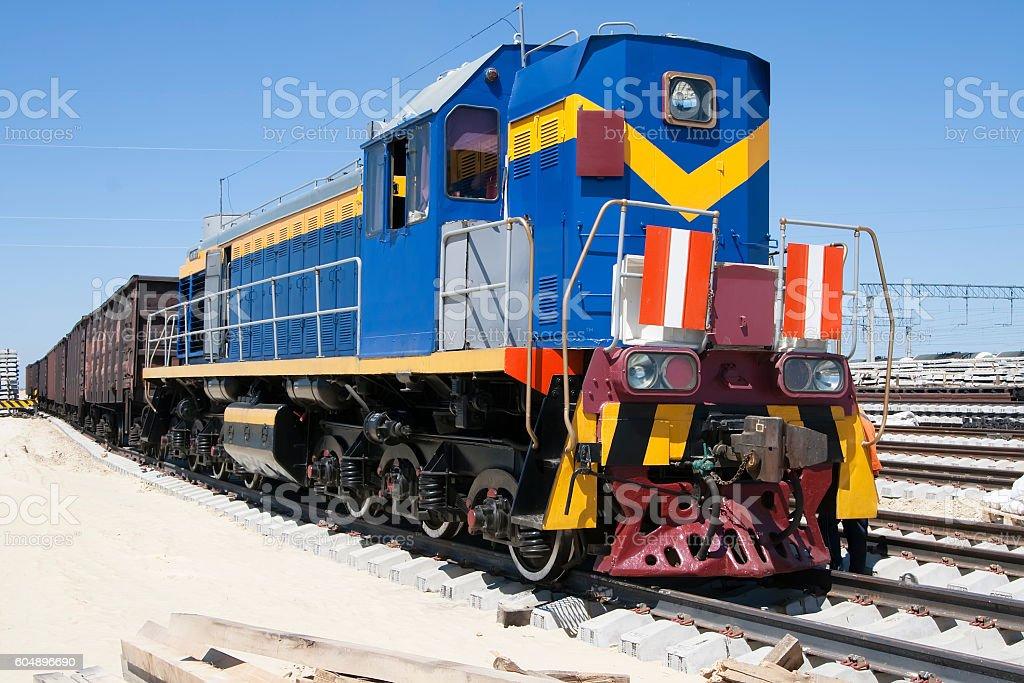 Shunting locomotives jumped the rails stock photo