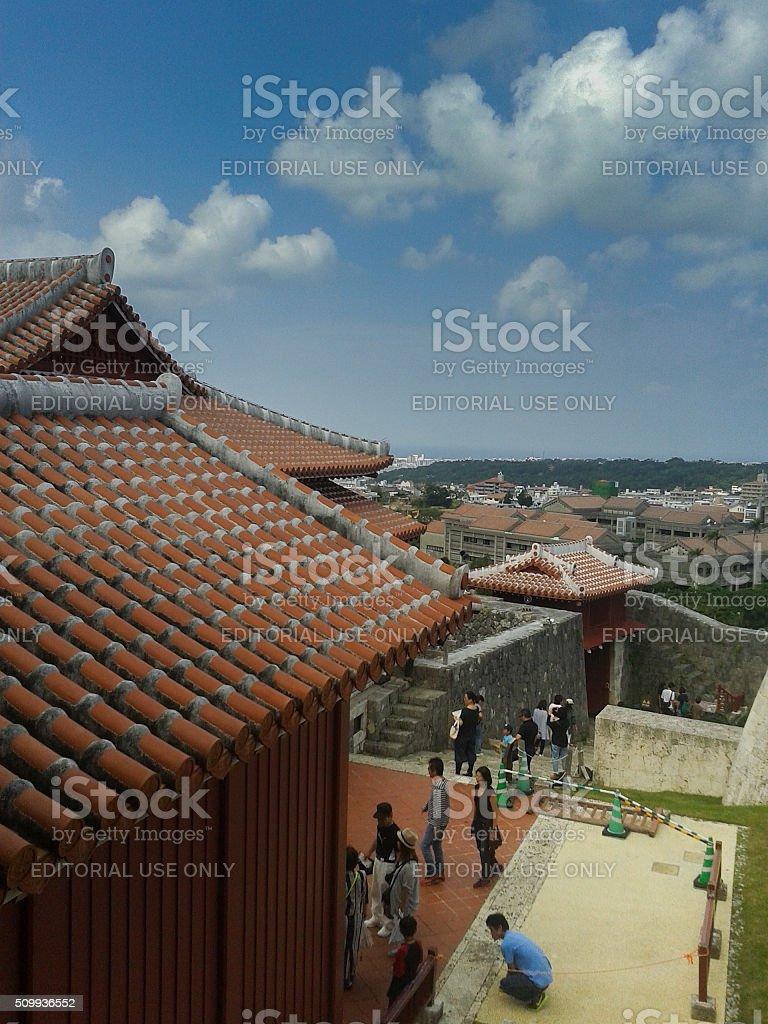 Shuri Castle in summer noon stock photo