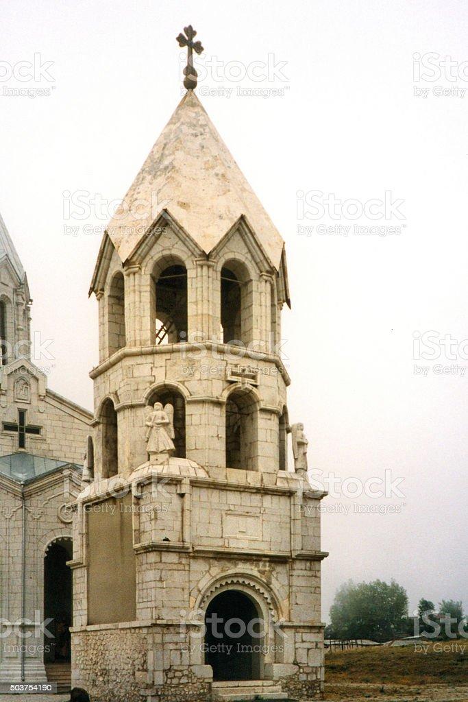 Shusha Cathedral bell tower, Nagorno Karabakh stock photo