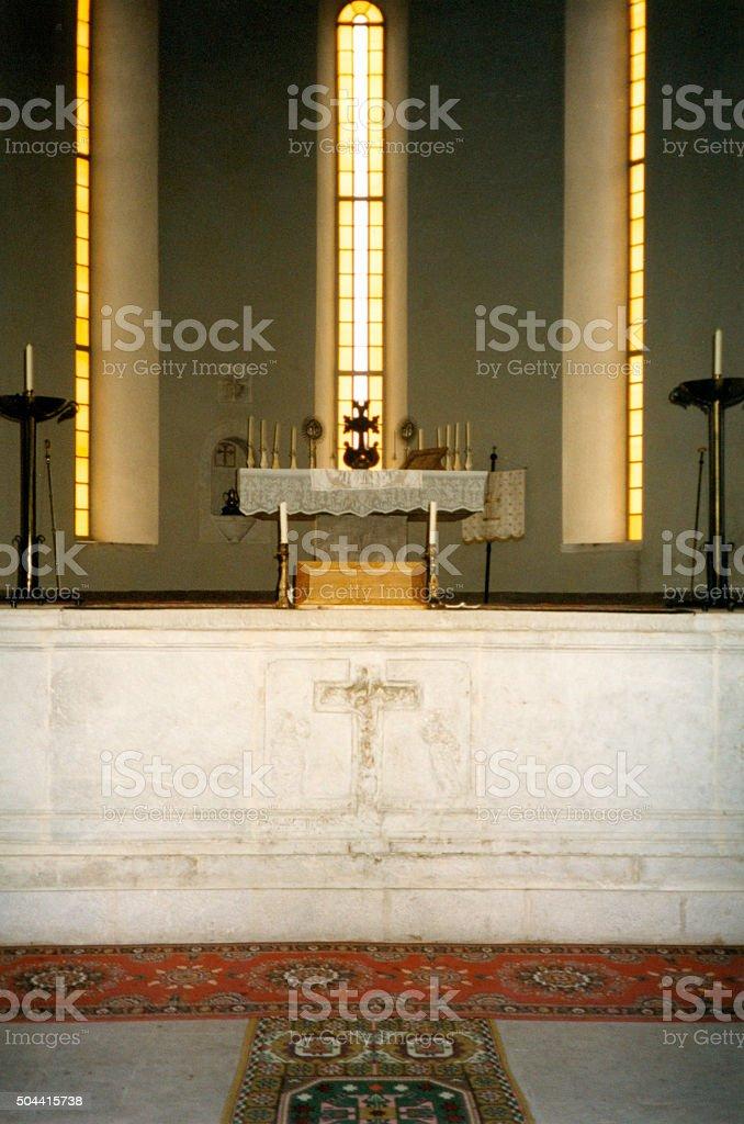 Shusha Cathedral, Nagorno Karabakh - altar stock photo