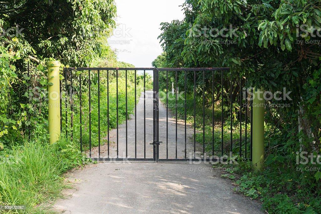 Shut iron gates stock photo
