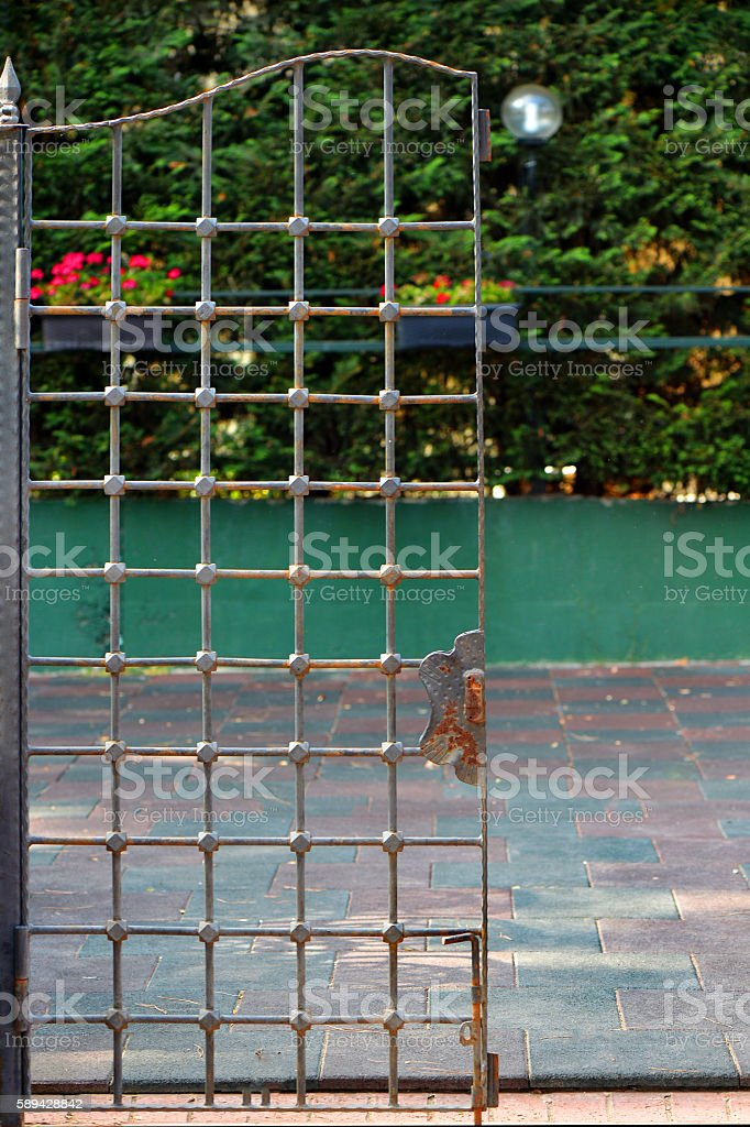 Shut iron spiked gates with blurred trees on the background stock photo