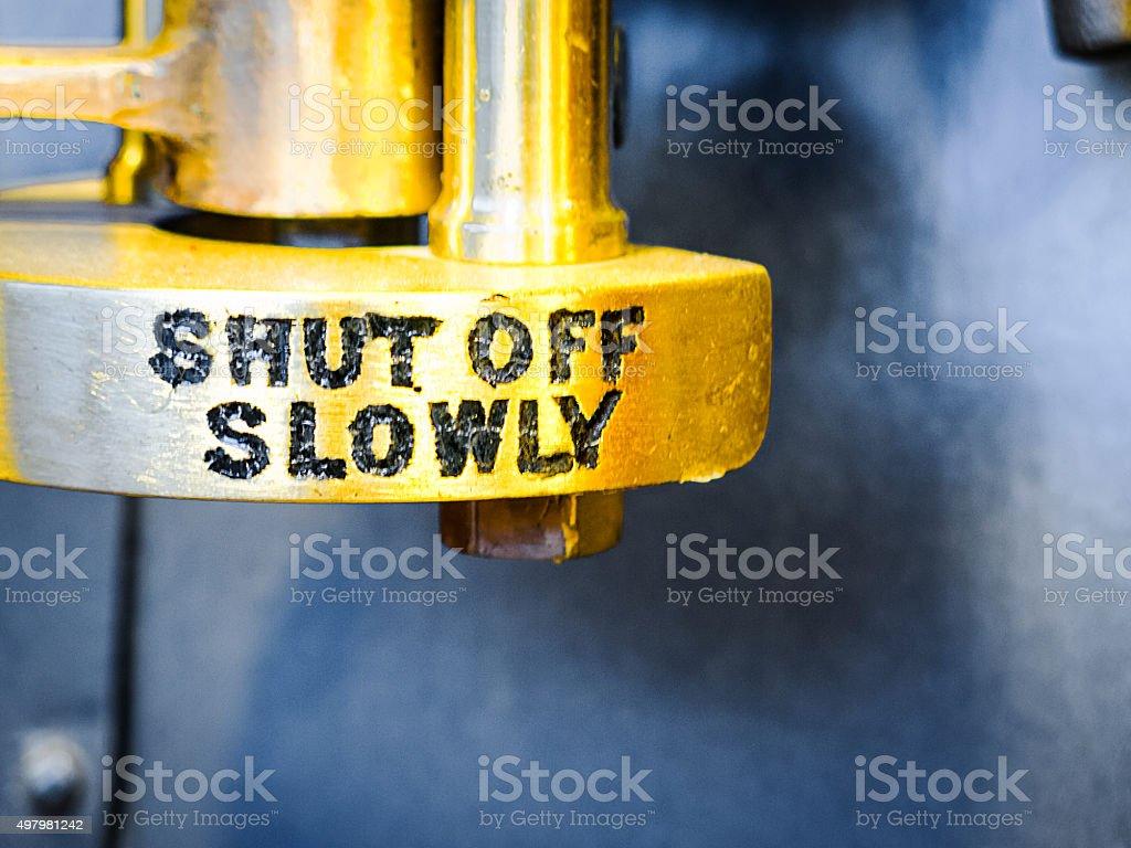 Shut off slowly stock photo