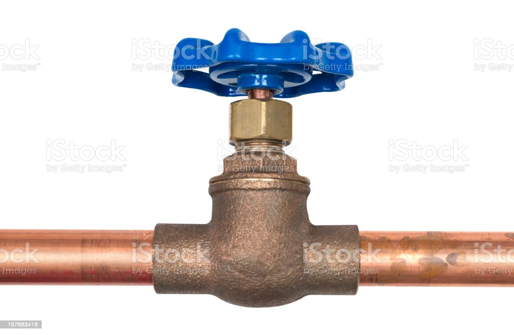 shut off valve on copper water line royalty-free stock photo