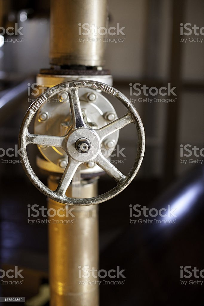 Shut - open switch in a whiskey distillery, Islay, Scotland. royalty-free stock photo
