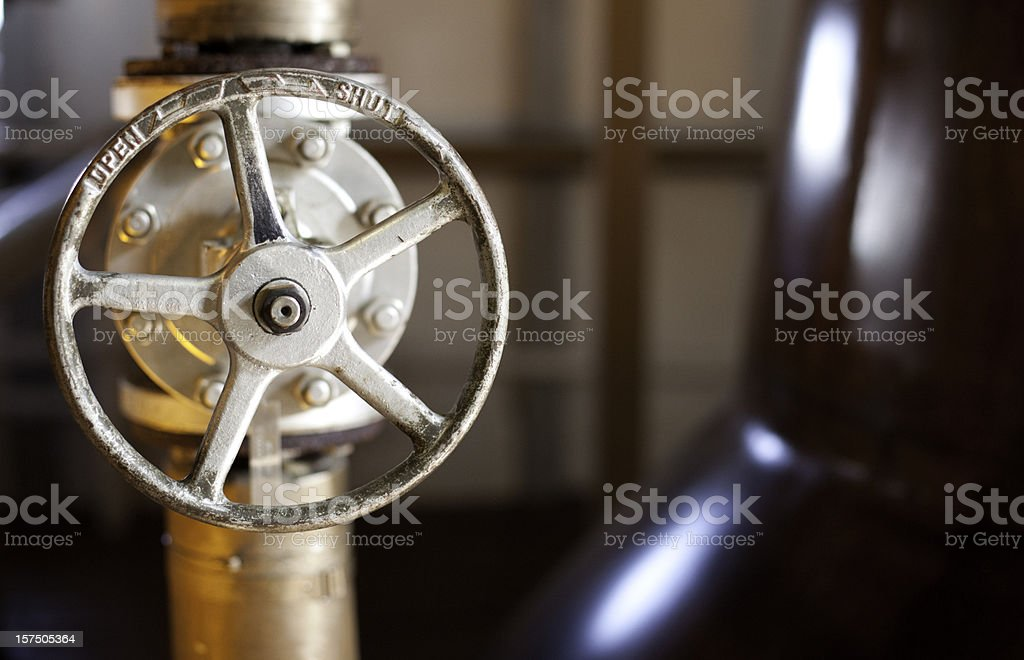 Shut - open switch in a whiskey distillery, Islay, Scotland. stock photo