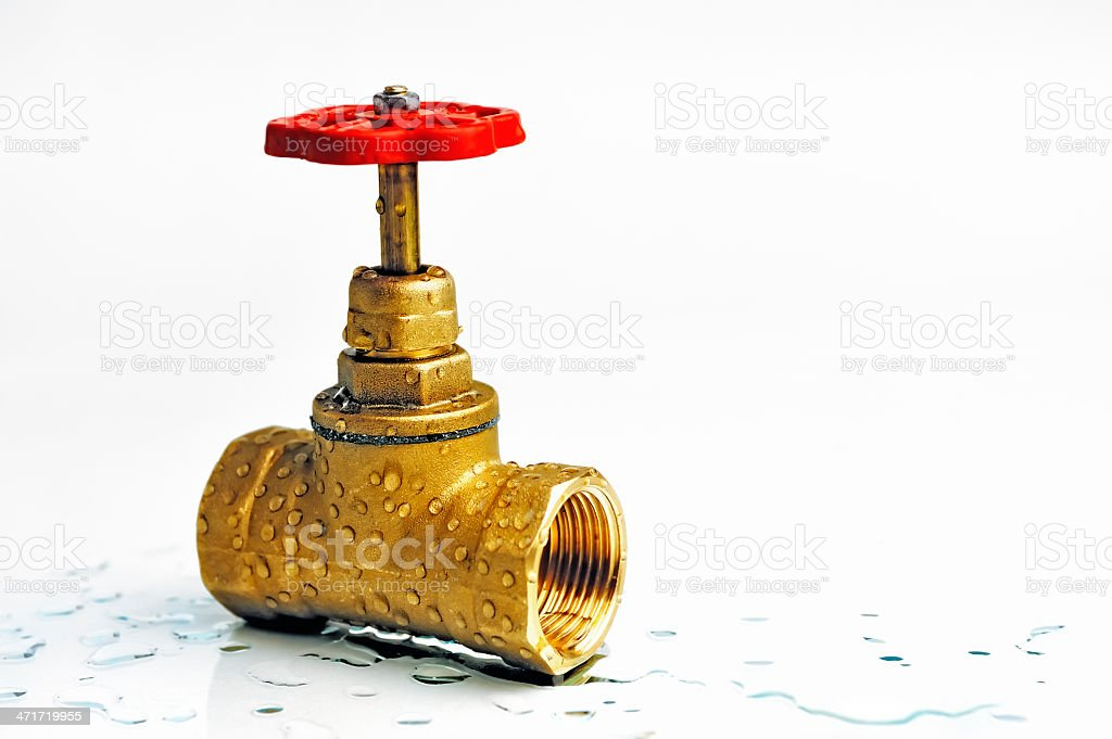Shut-off valve with the red wheel royalty-free stock photo
