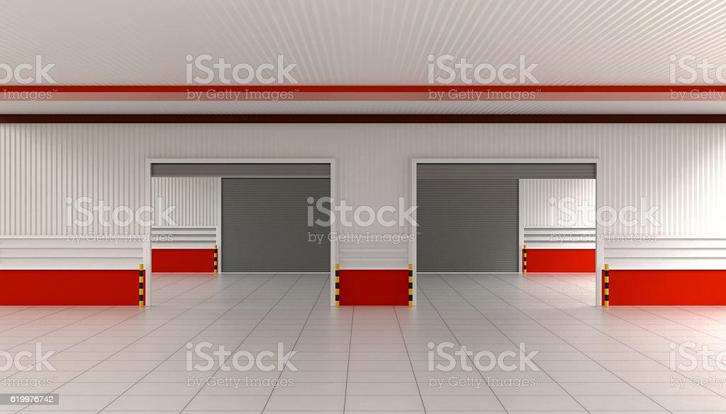 Shutter Door or Roller Door and Concrete Floor stock photo