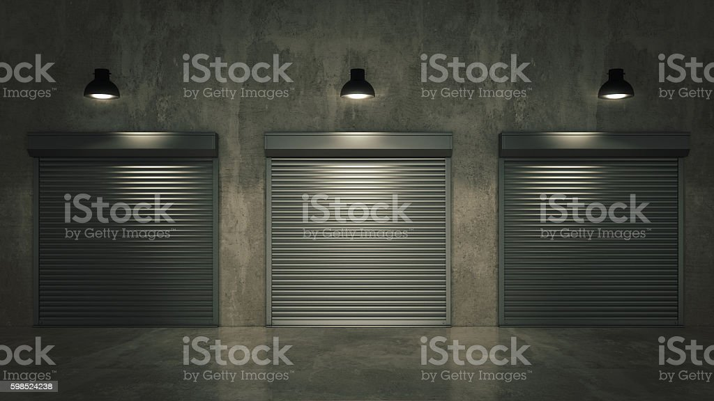 Shutter door or rolling door 3D stock photo