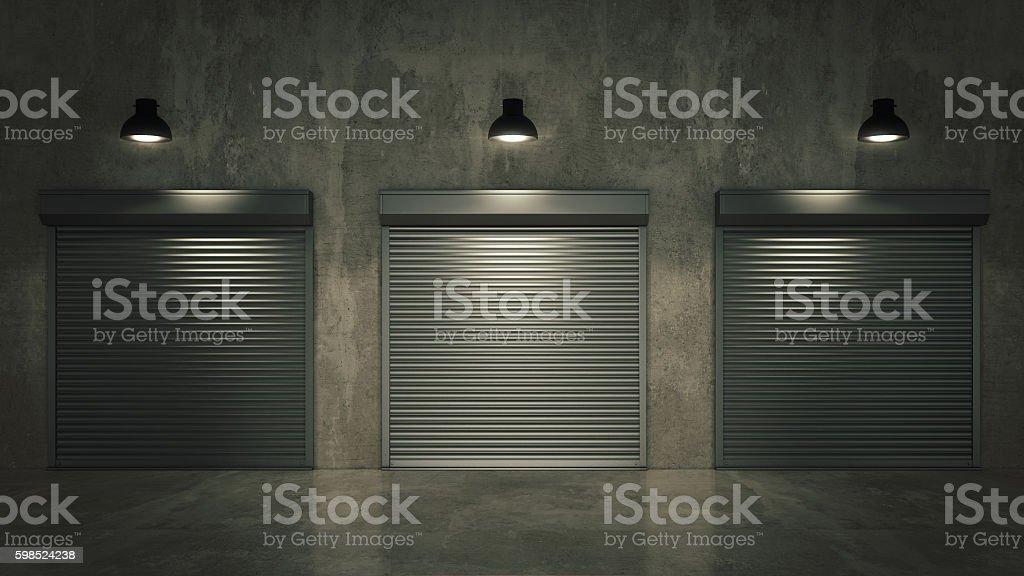 Shutter door or rolling door 3D stock photo