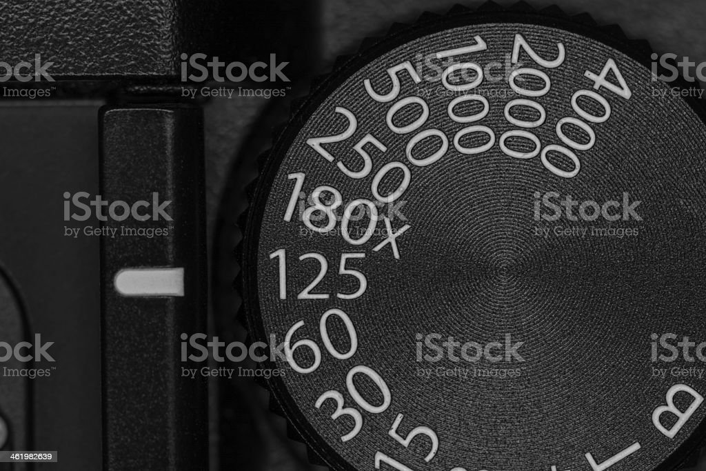Shutter speed dial on a camera stock photo