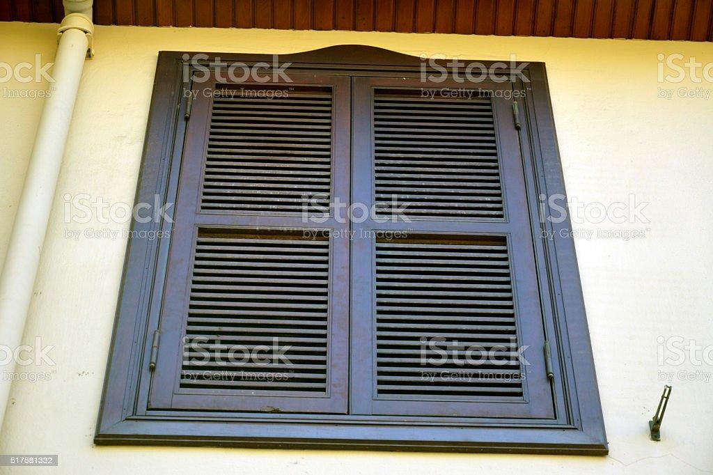 Shuttered oriel window in Kaleici historic quarter of Antalya, Turkey. stock photo
