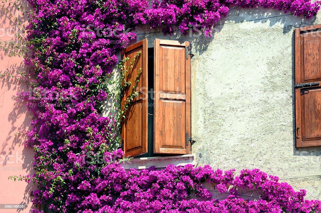 Shuttered window, Italy stock photo