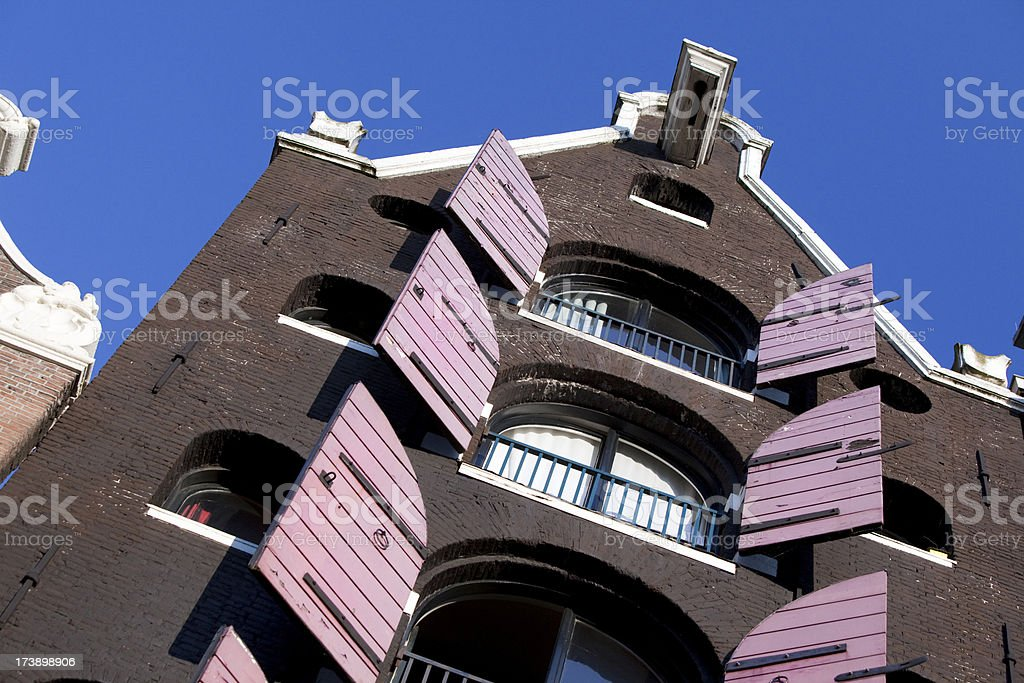 Shutters on Amsterdam House stock photo